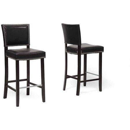 Wholesale Interiors BBT5112 Bar Stool-Black Aries Black Modern Bar Stool with Nail Head Trim - Set of 2