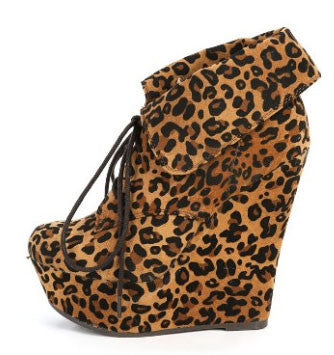 Carrie-12W Vegan Suede Almond Toe Lace Up Fold Over Cuff Wedge Boot - Peazz.com