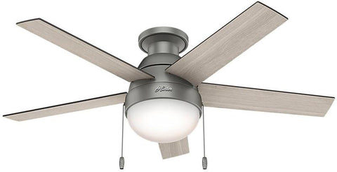 "Casablanca 59270 Anslee Collection - 46"" Matte Silver Low Profile Integrated Light Kit 59270 FAN"