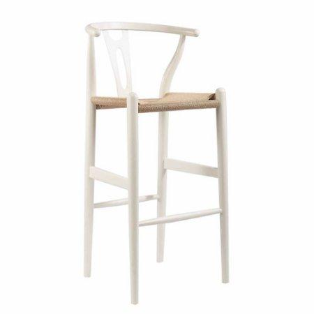 Wholesale Interiors BS-541A-White Mid-Century Modern Wishbone Stool - White Wood Y Stool - Each