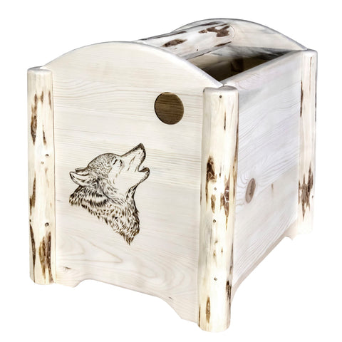 Montana Collection MWMAGLZWOLF Magazine Rack w/ Laser Engraved Wolf Design
