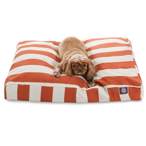 Majestic Pet Products Burnt Orange Vertical Stripe Medium Rectangle Pet Bed