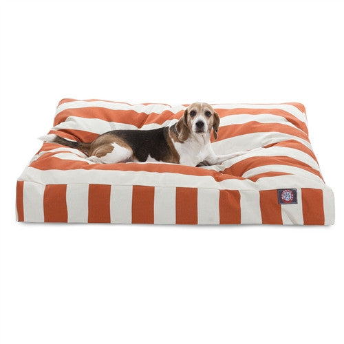 Majestic Pet Products Burnt Orange Vertical Stripe Large Rectangle Pet Bed