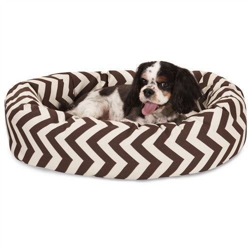 """Majestic Pet Products 24"""" Chocolate Chevron Sherpa Bagel Bed"""