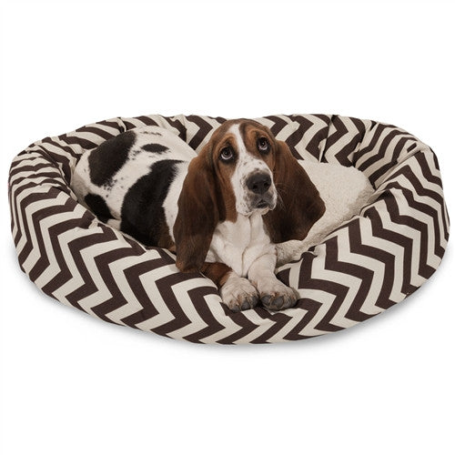 """Majestic Pet Products 32"""" Chocolate Chevron Sherpa Bagel Bed"""