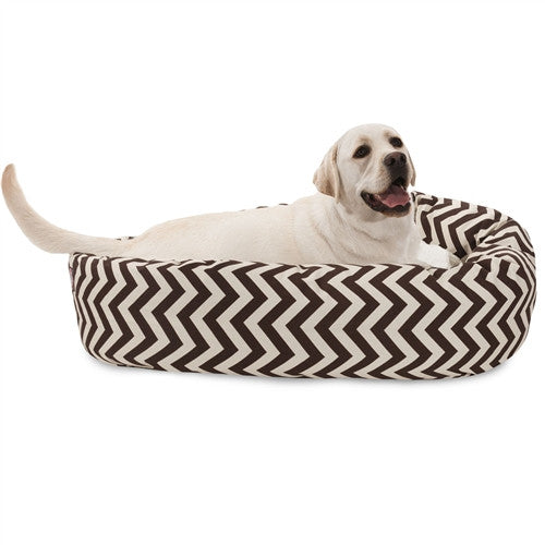 """Majestic Pet Products 40"""" Chocolate Chevron Sherpa Bagel Bed"""