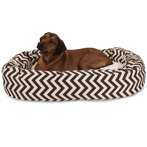"""Majestic Pet Products 52"""" Chocolate Chevron Sherpa Bagel Bed"""