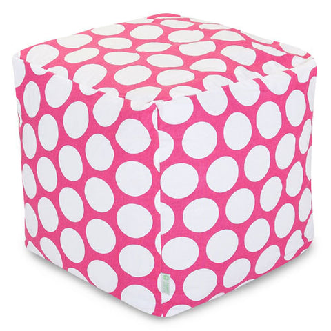 Majestic Home Goods 85907210125 Hot Pink Large Polka Dot Small Cube - Peazz.com