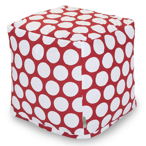 Majestic Home Goods 85907210127 Red Hot Large Polka Dot Small Cube - Peazz.com