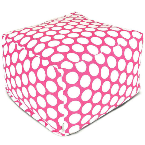 Majestic Home Goods 85907210225 Hot Pink Large Polka Dot Large Ottoman - Peazz.com