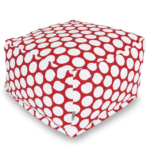 Majestic Home Goods 85907210227 Red Hot Large Polka Dot Large Ottoman - Peazz.com