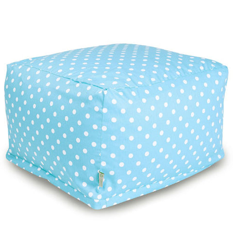 Majestic Home Goods 85907210229 Aquamarine Small Polka Dot Large Ottoman - Peazz.com