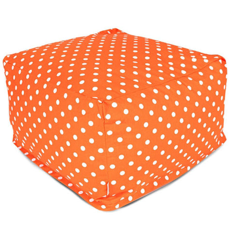 Majestic Home Goods 85907210233 Tangerine Small Polka Dot Large Ottoman - Peazz.com