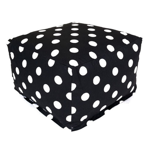 Majestic Home Goods 85907210234 Black Large Polka Dot Large Ottoman - Peazz.com