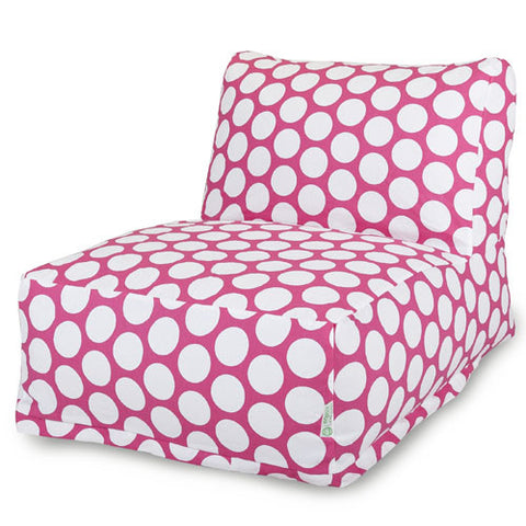 Majestic Home Goods 85907210325 Hot Pink Large Polka Dot Bean Bag Chair Lounger - Peazz.com