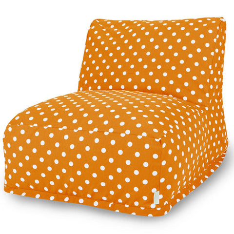 Majestic Home Goods 85907210333 Tangerine Small Polka Dot Bean Bag Chair Lounger - Peazz.com