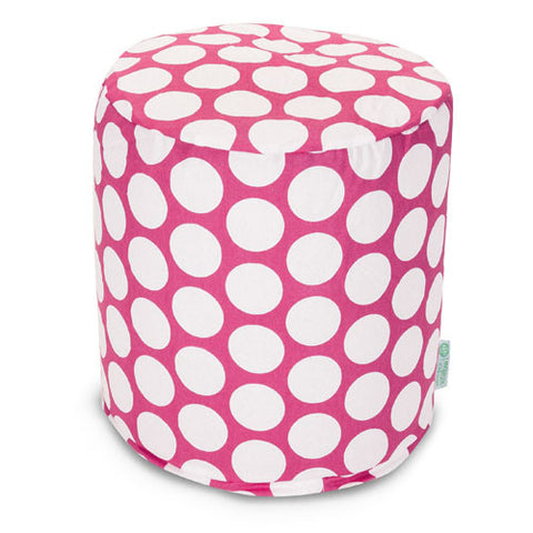 Majestic Home Goods 85907210425 Hot Pink Large Polka Dot Small Pouf - Peazz.com