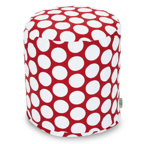Majestic Home Goods 85907210427 Red Hot Large Polka Dot Small Pouf - Peazz.com
