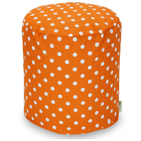 Majestic Home Goods 85907210433 Tangerine Small Polka Dot Small Pouf - Peazz.com