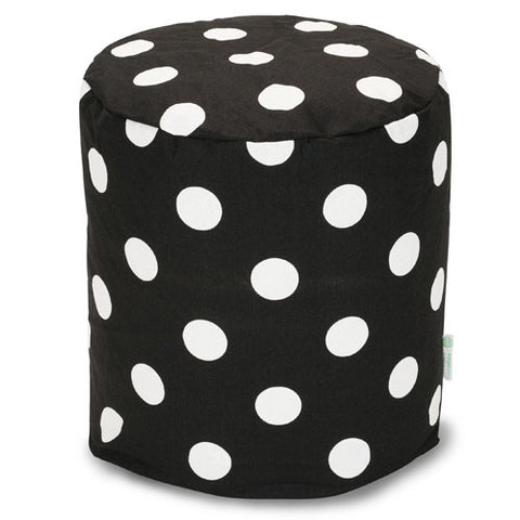 Majestic Home Goods 85907210434 Black Large Polka Dot Small Pouf - Peazz.com