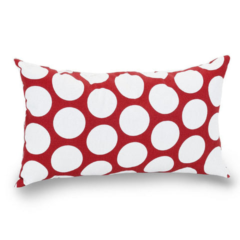 Majestic Home Goods 85907210627 Red Hot Large Polka Dot Small Pillow 12x20 - Peazz.com