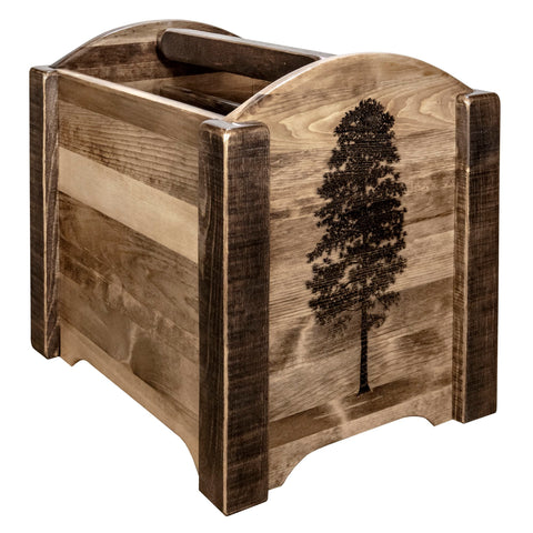 Homestead Collection MWHCMAGSLLZPINE Magazine Rack w/ Laser Engraved Pine  Design, Stain & Clear Lacquer Finish