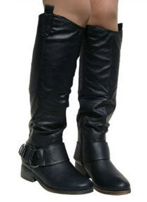 Plateau-01 Buckle Round Toe Riding Knee High Boot - Peazz.com
