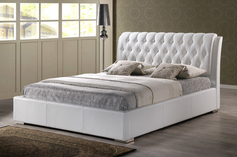 Wholesale Interiors BBT6203-White-King Bed Bianca White Modern Bed with Tufted Headboard (King Size) - Each - Peazz.com