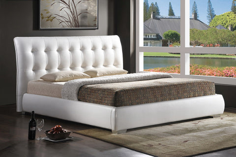 Wholesale Interiors BBT6284-White-Bed-King Jeslyn White Modern Bed with Tufted Headboard - King Size - Each - Peazz.com