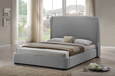 Wholesale Interiors BBT6318-Grey-Queen Sheila Gray Linen Modern Bed with Upholstered Headboard - Queen Size - Each - Peazz.com
