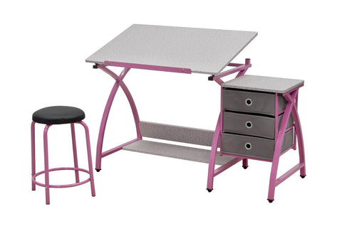 Studio Designs 13319 Comet Center with Stool / Pink / Spatter Gray - Peazz.com