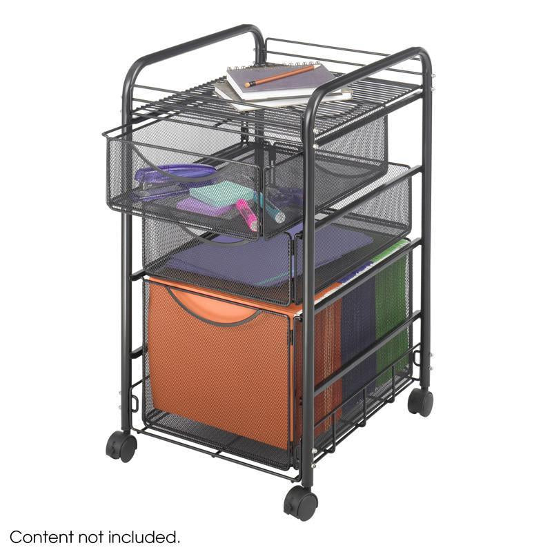 Safco 5213BL Onyx™ Mesh File Cart w. 1 File Dwr and 2 Small Drawers