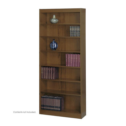 Safco 1506WLC 7-Shelf Square-Edge Veneer Bookcase - Peazz Furniture