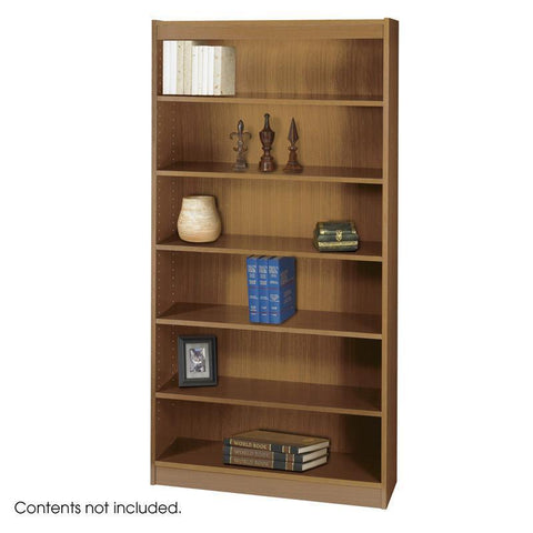 Safco 1505MOC 6-Shelf Square-Edge Veneer Bookcase - Peazz Furniture