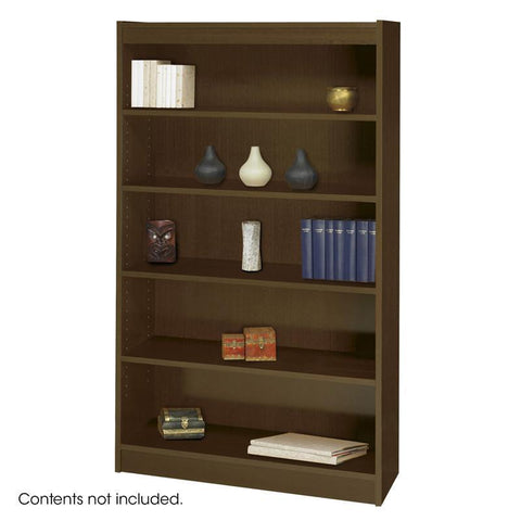 Safco 1504WLC 5-Shelf Square-Edge Veneer Bookcase - Peazz Furniture
