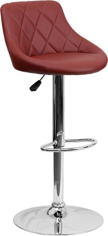 Flash Furniture CH-82028A-BURG-GG Contemporary Burgundy Vinyl Bucket Seat Adjustable Height Bar Stool with Chrome Base - Peazz Furniture