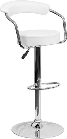 Flash Furniture CH-TC3-1060-WH-GG Contemporary White Vinyl Adjustable Height Bar Stool with Arms and Chrome Base - Peazz Furniture