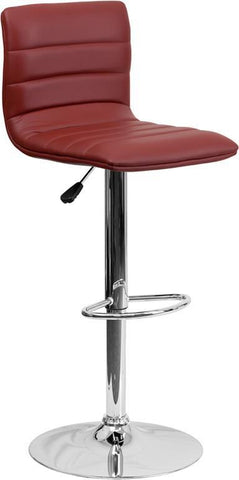 Flash Furniture CH-92023-1-BURG-GG Contemporary Burgundy Vinyl Adjustable Height Bar Stool with Chrome Base - Peazz Furniture