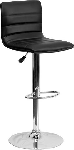 Flash Furniture CH-92023-1-BK-GG Contemporary Black Vinyl Adjustable Height Bar Stool with Chrome Base - Peazz Furniture
