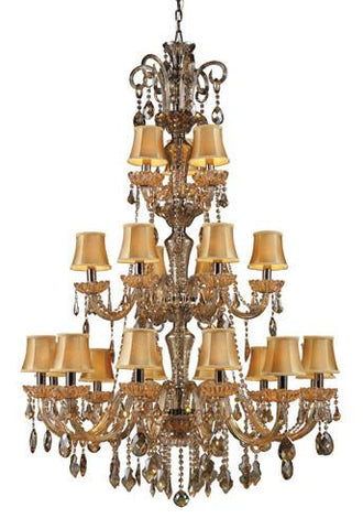 ELK Lighting Lighting 24003-12+6+3 Julianne 12+6+Three Light Chandelier In Black Chrome And Golden Amber Glass - PeazzLighting