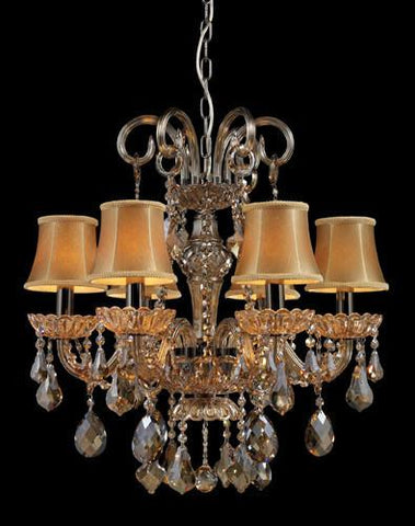 ELK Lighting Lighting 24001-6 Julianne Six Light Chandelier In Black Chrome And Golden Amber Glass - PeazzLighting