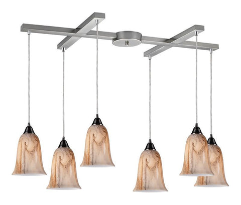 ELK Lighting Granite 6- Light Pendant In Satin Nickel - 31138/6 - PeazzLighting