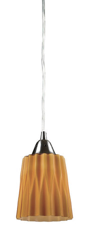 ELK Lighting Angles/Amber 1- Light Pendant In Satin Nickel - 31141/1AMB - Peazz.com