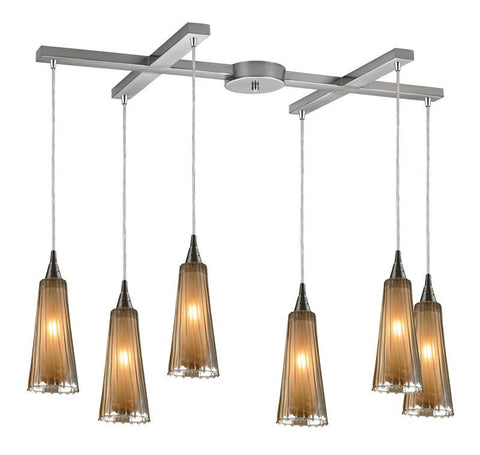 ELK Lighting Encapsulate 6- Light Pendant In Satin Nickel - 31148/6 - PeazzLighting