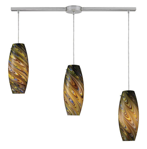 ELK Lighting 10079-3L-Cv Vortex Three Light Cellestial Pendant In Satin Nickel - PeazzLighting