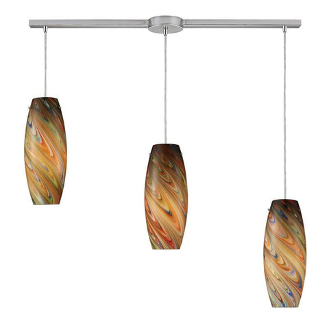 ELK Lighting 10079-3L-Rv Vortex Three Light Rainbow Pendant In Satin Nickel - PeazzLighting