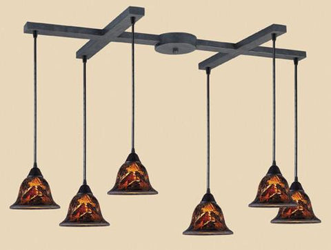 ELK Lighting 10144-6Fs Firestorm Six Light Pendant In Satin Nickel - PeazzLighting