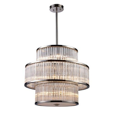 ELK Lighting 10130-5+5+5 Braxton 1 Five Light Pendant In Polished Nickel - PeazzLighting