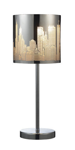 ELK Lighting 31036-1 Skyline One Light Portable Lamp In Polished Stainless Steel - Peazz.com