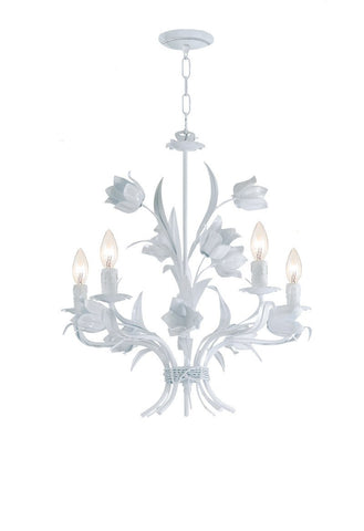 Crystorama Southport Handpainted Wrought Iron Chandelier 5 Lights - Wet White - 4815-WW - PeazzLighting